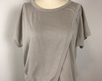Vintage 90s Christian Dior Actifs Paneled Cotton Top   1990s Dior Taupe Layered Short Sleeve Blouse   Made in Japan Size Small