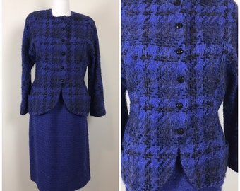 Vintage 80s Koos van den Akker Skirt Suit   1980s Purple and BlackKOOS Crew Neck Houndstooth Blazer and Skirt Set   Size 14