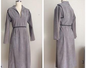 Vintage 70s Joan Leslie by Kaspar Dress    1970s Gray Ultrasuede Choir Style Dress   Faux Suede Side Slip Pocket Military Style Dress Size 6