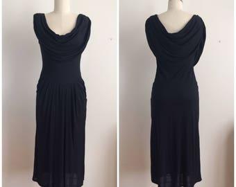 Vintage 80s Leva Paris Drape Neck Evening Gown    1980s Black Midi Length Sleeveless Dress   Cowl Neck Sheer LBD Made in France Size 4