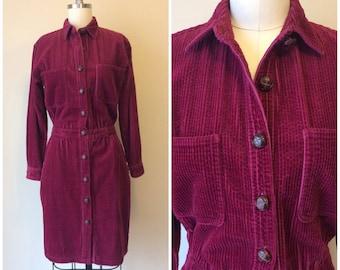 Vintage 80s J.G. Hook Burgundy Corduroy Dress   1980s Preppy Cotton Long Sleeve Button Front Shirt Dress Size 2
