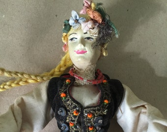 Vintage Polish Doll in Velvet and Lace Costume of Unmarried Woman of Krakow 1950s