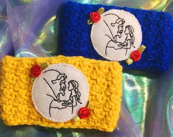 Beauty and the Beast cup cozy, Cup cozy, Belle and Beast cup cozy, BATB Cup cozy, Cup Cozies