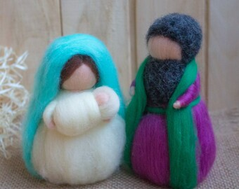 Waldorf inspired needle felted Christmas dolls: Nativity set (Marie,Joseph and Jesus) Hand Felted Nativity Dolls Waldor NATIVITY Creche