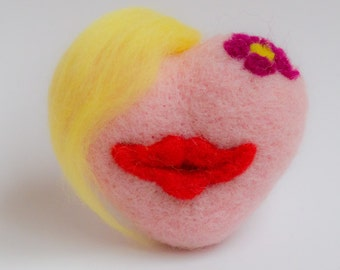 Needle Felted Heart. Heart with  haircut Valentine's Day Heart with message gifts for women, ornament.Heart with  red lips