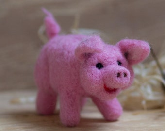 Wool toy, toy pig, stuffed animal, eco friendly toy, eco friendly pig, pig, stuffed wool toy, fibre pig, wool piglet, pink piglet, piglet
