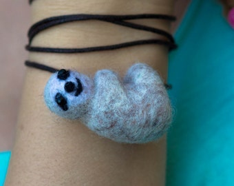 Sloth Necklace Animal Pendant Necklace Felted sloth on braided necklace,  needle felted animal felt jewelry, miniature gift braided necklace
