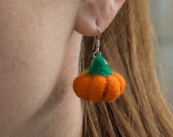 Halloween Earrings Pumpkin earrings  Fun earrings  Autumn earrings pumpkin earrings,Fall earrings Wool  Earring Jewellery Halloween Jewelry