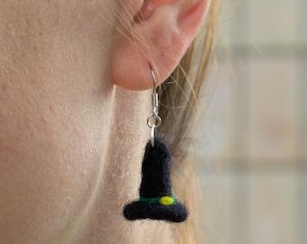 Halloween Earrings Witch Hat Earrings  Witch Earrings Witch Hat Halloween Jewelry Fun earrings Fall earrings Wool  Earring Halloween Jewelry