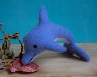 Felted Dolphin - Needle Felted Dolphin Ornament Dolphin, Miniature Figurine, Sea Wool Figurine, Ocean Souvenir Nautical Decor,Fish, Art Doll