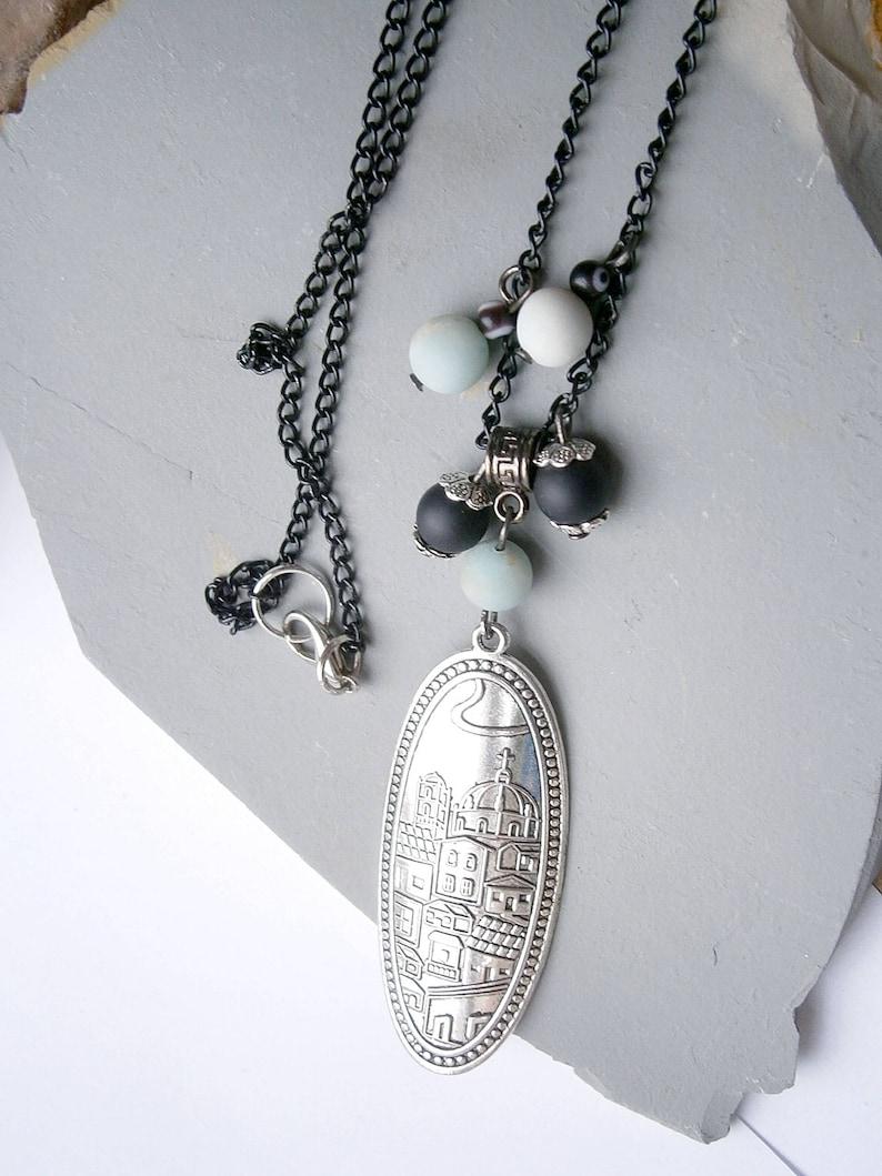 city houses picture necklace cool stone bead necklace unique silver necklace Charm vintage pendant necklace black mint green necklace
