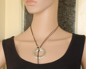 Silver Ring Necklace, Dark Brown Necklace, Leather Necklace, Hammered Necklace, Murano Glass Jewelry