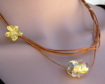 Leather Strings Necklace, Floral Bead Necklace, Murano Glass Necklace, Layering Necklace, Lampwork Jewelry