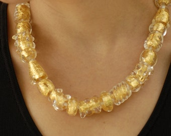 Gold Chunky Necklace, Glass Beaded Necklace, Flamework Necklace, Murano Glass Jewelry, Italian Glass Necklace