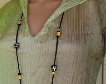 Dark Blue Bead Necklace, Long Boho Leather Necklace, Artisan Lampwork Jewelry, Bohemian Necklace