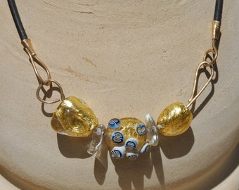 Chunky Necklace, Black Leather Necklace, 24k Gold Necklace, Murano Glass Necklace, Beaded Necklace