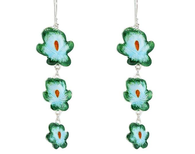 Enamel Green Dangle Earring-Chinese Jewellery-Enamel Flower-Handcrafted Jewellery