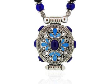 Enamel Pendant-Blue Flower-Lapis Pendant-Filigree Pendant-Chinese Jewellery