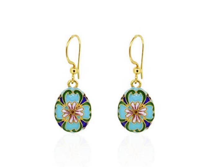 Green Flower Enamel Earrings-Lotus Enamel Earrings-Filigree Enamel Earrings-Sterling Silver Earrings-Gold Plated
