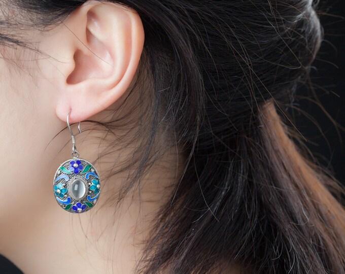 Cat eye white moonstone dangle earrings-Chinese Enamel Filigree earrings-natural gem earrings-December Birthstone-Stone for Lovers