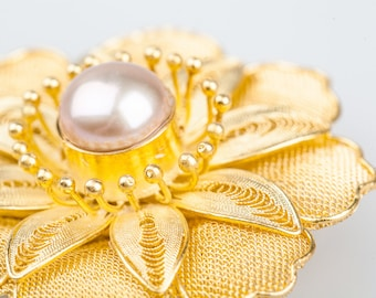 Gold Enamel filigree pearl brooch - Nature pearl-June Birthstone-Gifts for MoM-Handcrafted