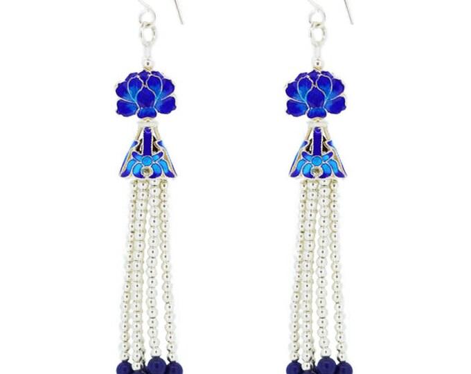 Enamel Blue Flower-Chinese Jewellery-Enamel Flower-Filigree Jewellery-Handcrafted Jewellery