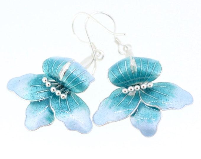 Enamel flower earrings-Silver earrings-Christmas Gift for Women