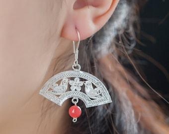 Fine Silver Fan Shape Earrings with red agate
