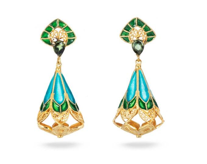 Silver Enamel Filigree Tourmaline Dangle Earrings-Filigree-18K GOLD Plated-Tourmaline Earrings-Enamel Earrings-Christmas Jewellery Gift