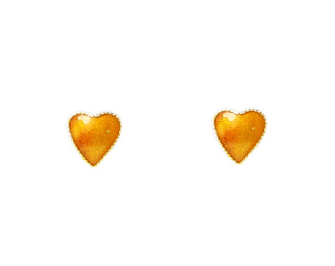 Little Heart Ear Studs-Enamel Ear Studs-Orange Color