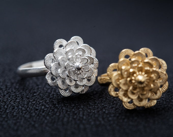 Blooming flower ring - handmade extruded wire filigree - Silver and gold plated silver - ask for your preferred colour!