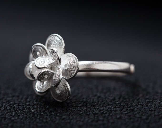Silver Filigree Ring-Handmade Pure Solid Silver Ring-Flower Shape Sizable ring- Gift for Girls