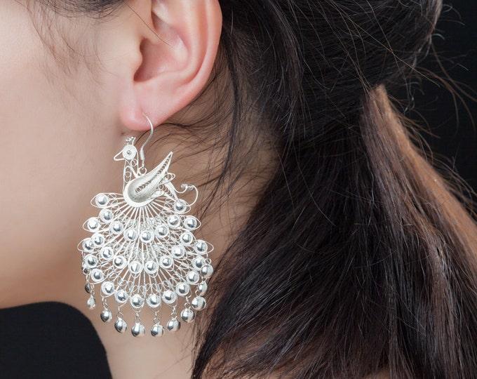 Fine Silver Filigree Earrings-Handcrated Earrings-Peacock Dangle Earrings