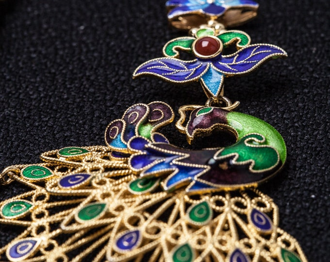 18k gold plated sterling silver filigree pendant - Nature stone - Garnet - Lapis - Filigree pendant - Luxury - Handcrafted - Gifts for Her