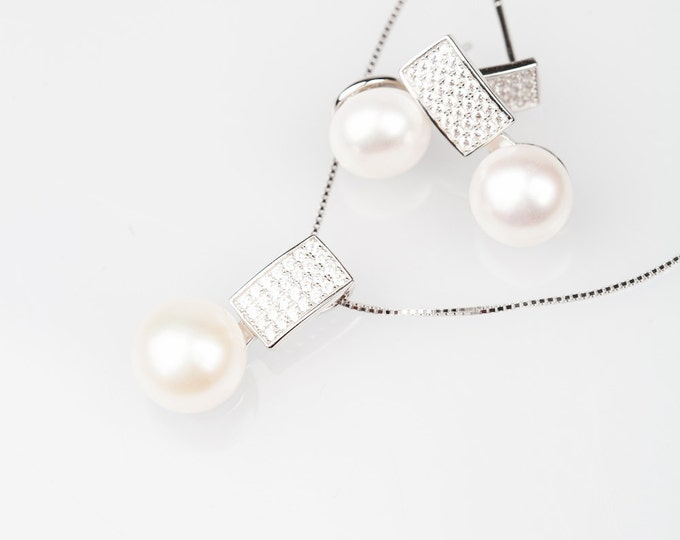 Pearl Silver with Diamonds Suite - Pearl Earrings and Necklace - Gift for Mom