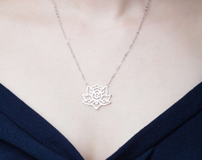 Lotus flower necklace in silver - light, simple, and airy - evoking the beautiful and sensual lotus flower