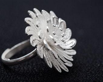 Pure silver ring handmade filigree - solid silver fine silver