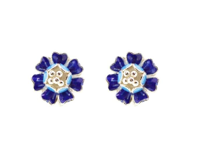 Blue Flower-Enamel Flower-Enamel Ear Studs-Chinese Enamel Jewellery-Handmade Jewellery