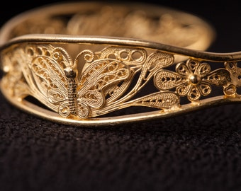 Silver Handcraft Filigree Bangle - Butterfly Bangle - 24k Gold Plated - Individually tested and hallmarked to certify sterling silve
