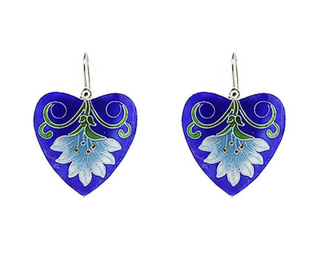 Enamel Flower Earrings-Silver Enamel