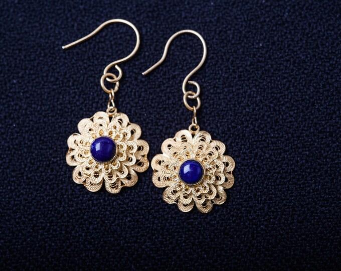 Filigree earrings-Silver earrings-24K gold Plated earrings-Lapis earrings