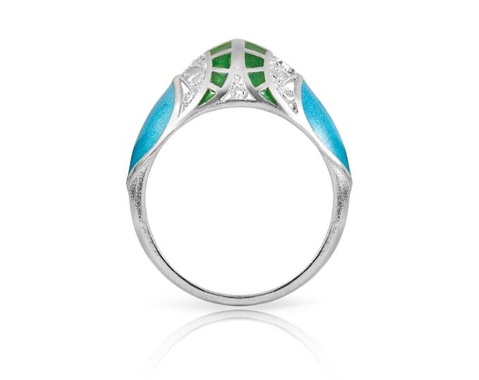 Enamel Filigree Ring-Handmade Ring-Silver Filigree-Chinese Enamel Ring-Designer Ring