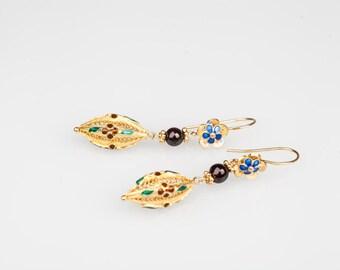 Garnet Earrings-Filigree Earrings-Enamel earrings