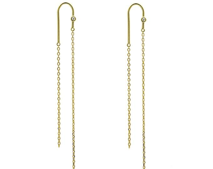 Diamond earrings-Simple design earrings-Silver-Plated Gold Earrings-Gift for her