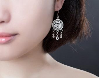 Filigree Silver Earrings - traditional drum shape