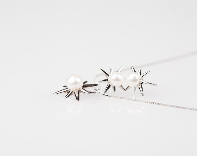 Pearl Snowflakes - Earring and Necklace Set