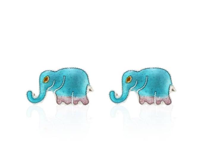 Elephant Earrings-Enamel Animal-Chritmas gift-for girls-Silver Ear studs