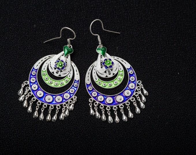 Silver Handcrafted earrings- Filigree earrings- Enamel dangle Earrings-Gifts for her