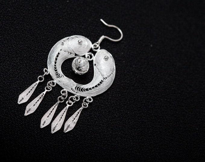 Couple Fish Fine Silver Filigree earrings