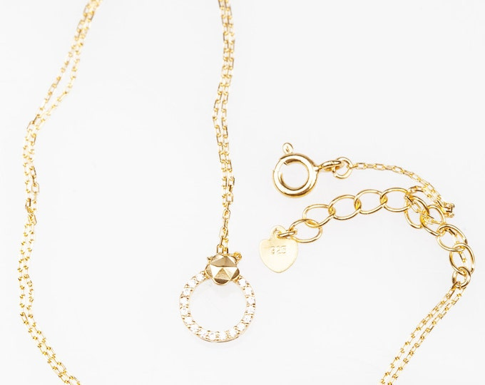 Sterling Silver plated 18K gold with crystal necklace-Summer necklace
